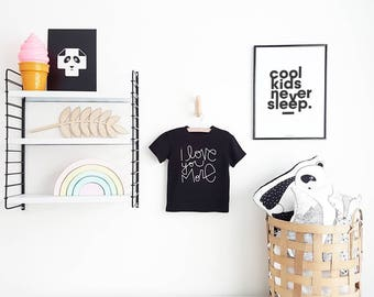 Cool Kids Never Sleep, Black and white Nursery Poster, New Mom Gift, Baby Shower Gift, Monochrome Poster, Play Room Decor, Kids Room Design