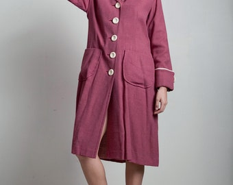spring coat dress vintage 70s mauve pink pocket white trims buttons flat wide collar LARGE L