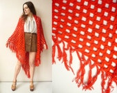 1970's Vintage Bright Red Hand Knitted Crochet Tassel Scarf Shawl Cape