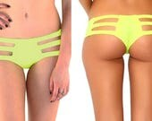 LAST ONE- Spring Clearance - Large Highlighter Neon Micro Cut Out Booty Shorts- Strappy Rave Shorts- Neon Lingerie