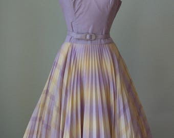 1950s Innovative Designer Carolyn Schnurer Cotton Halter Dress with Modesty Wrap Top / Pretty Pastel Plaid Ombre / Medium Bombshell Attire