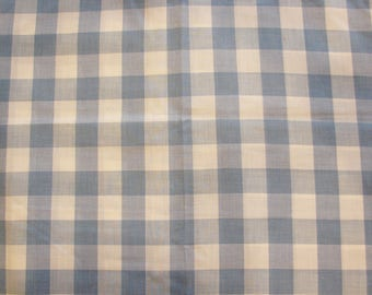 Blue Gingham Fabric Light Blue and White Gingham 1 inch Gingham Vintage Cotton Fabric by the Yard 44 inch wide