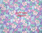 1/4 YARD 1/2, QUILT COTTON, Purple Pink Blue, Pastel Floral Print Fabric, Peter Pan, Allover Flowers Leaves, Medium Weight, B3