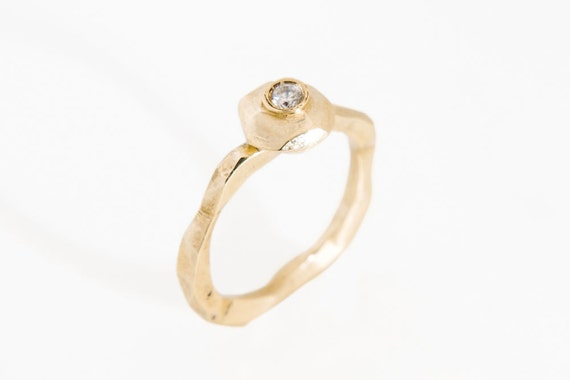 14k gold engagement ring, modern engagement ring, unique gold stacking ring, geometric promise ring