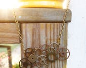 Layered Gear Necklace - steampunk jewelry, gears, bib necklace, oxidized gold chain, sprocket design, copper, iron, gold