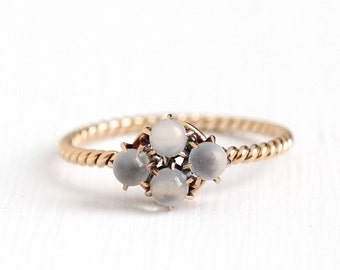 Antique 14k Rosy Yellow Gold Moonstone Cluster Ring - Early 1900s Vintage Size 7 1/2 White Orb Gemstone Four Stone Fine Jewelry