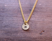 Stamped Initial Charm Necklace: Custom Letter Brass Round