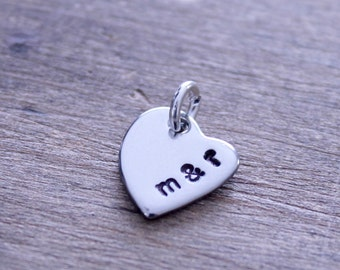 Stamped Initial Heart Charm with Ampersand Necklace: Silver Offset Heart