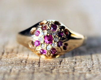 Antique Ladies Ruby Diamond Engagement Ring 1930s Vintage Cluster 18ct 18k 750 Yellow Gold | FREE SHIPPING | Size N / 6.75
