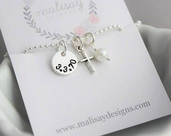 date and cross necklace, baptism gift, communion gift, little girl necklace, faith cross necklace, date stamped disc, confirmation gift