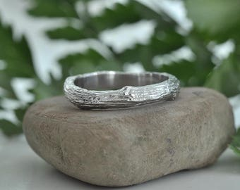 Mens branch twig wedding band / Unique nature inspired ring for him / White gold handmade wedding band