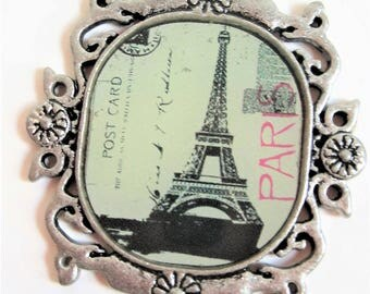 Paris Eiffel Tower cameo style charms in antique silver with two loops set of 4