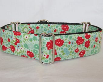 Spring Blooms Martingale Dog Collar - 1.5 or 2 Inch - colorful spring red green