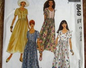 Vintage 1990s Easy to Sew Misses Easy Fitting Dress with Princess Seams and Short Sleeves Sizes 10 12 14 McCalls Pattern 8649 UNCUT