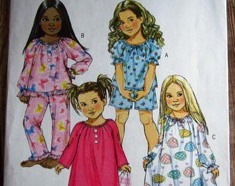 Very Easy to Sew Girls Pajama Top and Gown with Sleeve Variations, Shorts and Pants Sizes 6 7 8 Butterick Pattern B4910 UNCUT