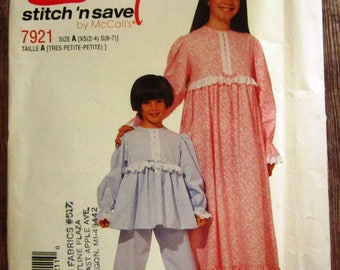 Vintage 1990s Easy to Sew Little Girls Pullover Nightgown and Pajamas Sizes XS (2-4) S (6-7) McCalls Pattern 7387 UNCUT