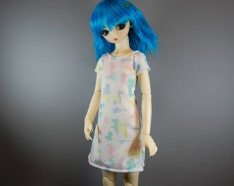 SD / SD13 Multi-Color Patterned Dress for Girl BJD, Ball Jointed Dolls, Pink, Green, Blue, Yellow