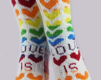 KNITTING PATTERN for Love is Love Socks - Sock pattern - Charted pattern - digital download - Colorwork pattern - Valentine's Day - Hearts