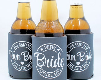 Bachelorette Party Can Cooler, Team Bride, Bachelorette Party Favors, Matching Bride, Beer Bottle Can Cooler, Slate Gray, Fall Color