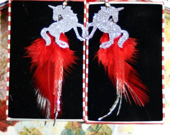 Glitter unicorn Red feather tassel chain freedom faith sterling earrings