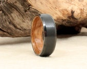 Beveled Black Zirconium Wood Ring Lined with Whiskey Barrel White Oak Wooden Ring