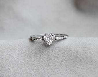 Sweet Diamond Heart Promise Ring in 14k White Gold, size 6