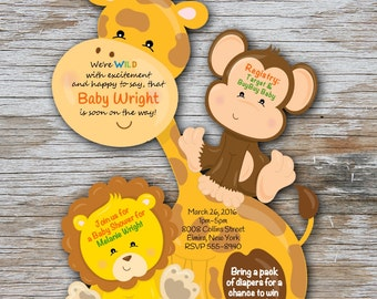Jungle Baby Shower Invitation Giraffe Baby Invitations Jungle Invitation Giraffe Safari Baby Invitations Giraffe Monkey Jungle Safari Qty 20