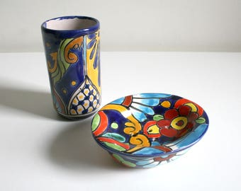 Talavera Soap Dish and Cup Set
