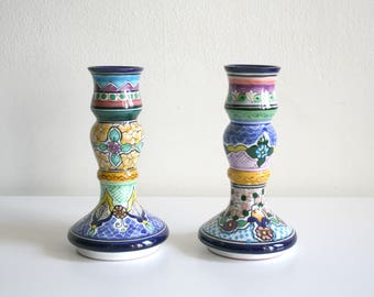 Talavera Mexican Large Candlestick Holders