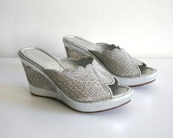 SALE Silver Metallic Leather Wedges 37
