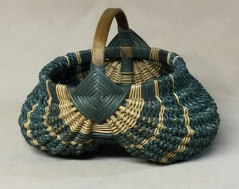 Round Hand Woven Egg Basket with Teal Accent Weaving