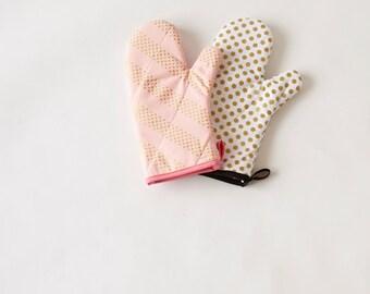 Handmade Oven Mitt Set Pink and Gold Polka Dots