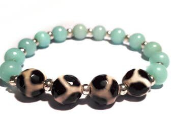 Stunning Amazonite and Giraffe Agate Stretch Bracelet - Mint Green - Turquoise Blue