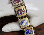 French Brass & Enamel Souvenir Shield Bracelet, Coat of Arms Panels for 8 Cities, Jewelry for Her Gift