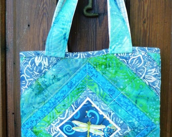 quilted patchwoork blue and green tote with dragonfly