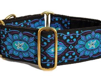 Martingale Collar or Buckle Dog Collar - Forenza Jewels Jacquard in Blue - 2 Inch, Greyhound Collar, Great Dane Collar, Custom Dog Collar