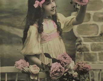 French Antique Postcard - Young Girl with Flowers