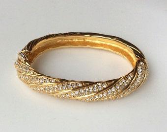 Sparkling Swarovski Gold and Crystal Bangle - Wedding Ready!