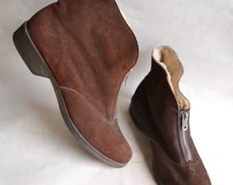 1950s Brown suede & sheepskin boots / 50s fleece lined ankle booties - Sz uk 5.5 5 1/2