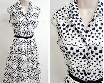 1950s 60s White & black rose print shirtwaister dress / 50s printed cotton summer sundress - XS S
