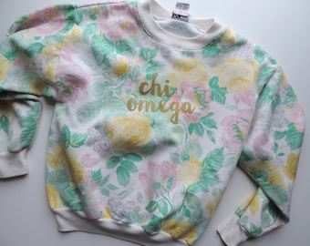 Vintage Chi Omega Floral Crewneck Sweatshirt // Size XS/S // Ready to Ship // One of a Kind