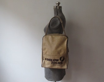 Vintage '70s Forlow Tours, Since 1935 Heavy-Weight Camel Textured Vinyl Travel Bag, Airline Bag, Overnight, Flight Bag