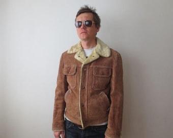 Vintage '70s Men's Suede, Faux Fur Lined Grande Bay Sherpa / Trucker Jacket, Small, 40 Chest
