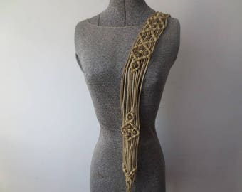Vintage '70s Boho Macrame & Wooden Beaded Belt w/ Long Fringe Cord Ties, 34 - 36 Inch Waist