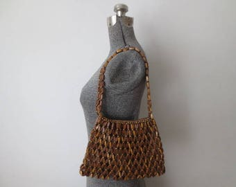 Vintage '70s Boho Wooden Beaded Shoulder Bag / Purse