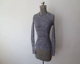 Vintage '60s/'70s Heather Blue Ribbed Knit Long Sleeve Thermal Pullover Shirt, Small / Medium