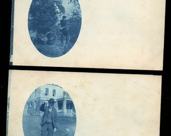 Two Cyanotype Photo Postcards - Including Bicycle