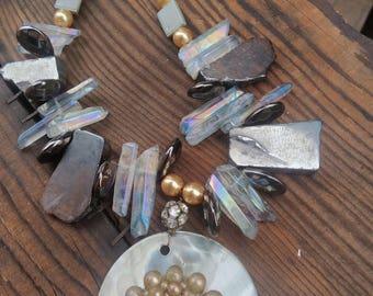 Shell Necklace - quartz bib necklace - Beach Wedding  - Tropical jewelry - Resort Wear - Beach Jewelry - Statement Necklace - Upcycled
