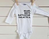 Bears Beets Battlestar Galactica Onesie. Dwight Schrute Baby Onesie. FREE SHIPPING! Gerber. Trendy Baby Bodysuit. The Office. Jim Halpert.
