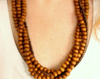 Wood beaded necklace, multi layer necklace
